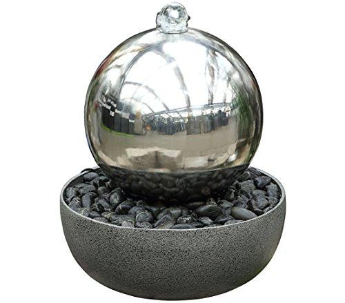 Dehner Gartenbrunnen Globe mit LED Beleuchtung, Schale: Ø 45 cm, Kugel: Ø 32 cm, Höhe 52 cm, Edelstahl, grau