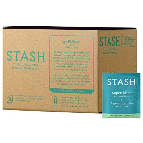 Stash Tea Super Mint Herbal Tea 100 Count Box of Tea Bags in Foil