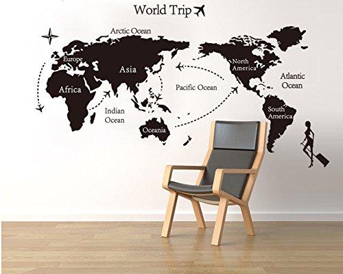 Pegatinas pared Mapa del Mundo Negro pared adhesivo de pared Imágenes Decoración para habitaciones