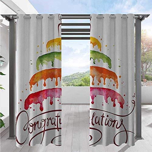 Outdoor Patio Curtain Watercolor Artwork of Multiplex Cake with a Candle Congratulations Theme Design Indoor Outdoor Deck Curtain Add Soft Touch to Patio Multicolor W108 x L96 Inch