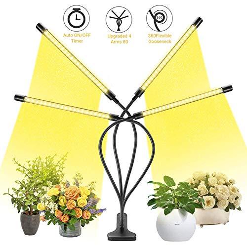 JZH 40W plantenlamp 80 LEDs instelbaar plantenlicht waterdicht volspectrum, met automatische timer/3h/6h/12h timer/3 lichtmodi/dimbaar 5 lichtsterktes functies Plant Light