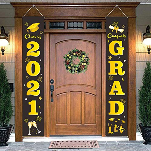 DegGod Graduation Party Porch Sign Set Decorations, Class of 2021 & Congrats Grad Banners Hanging Flags for Indoor and Outdoor Home Door Décor Supplies