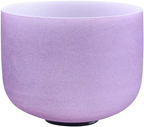 440Hz 20 CM Color violeta esmerilado Pitch perfecto B Note Crown Chakra Crystal Singing Bowl Cuarzo Singing Bowl con junta tórica y New Crystal Mallet