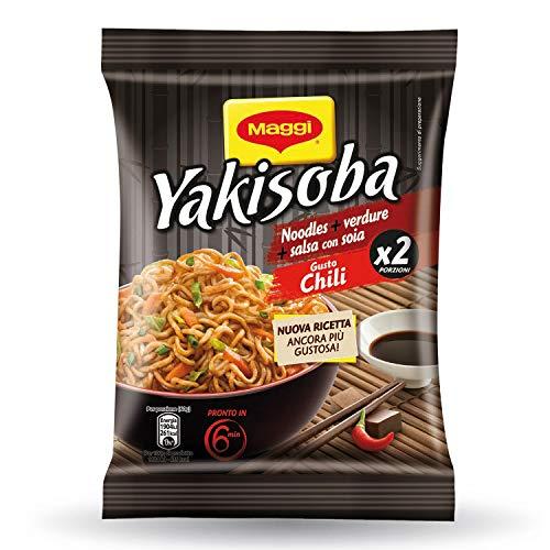 Maggi Yakisoba Gusto Chili Noodles Istantanei con Verdure e Salsa con Soia, 120 g