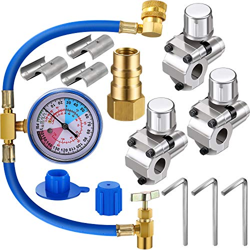 3 Pack BPV31 Bullet Piercing Tap Valve Kits U-Charging Hose Refrigerant Can Tap with Gauge R134a Can Connect to R12/R22 Port AC 1/2 and Universal Retrofit Valve with Dust Cap
