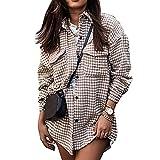 Rasatimu Camisa de manga larga para mujer, estilo informal, a cuadros, con botones, con bolsillos, mediados y largos, caqui, S