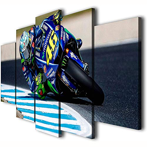 FJNS 5 Paneles Impresos Valentino Rossi Motor Racing Pictures Decor Painting, Impresión en Lienzo Pared Arte Poster Home Decor Pictures - Marco de Madera (Opcional),B,40x60x240x80x240x100x1