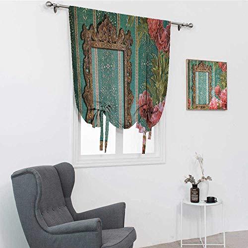 GugeABC Cortinas vintage para puerta de patio, marco antiguo con adornos y rosas, tema antiguo, retro, nostálgico, cortinas romanas para ventana, espuma de mar, coral oscuro, 76,2 x 162,6 cm