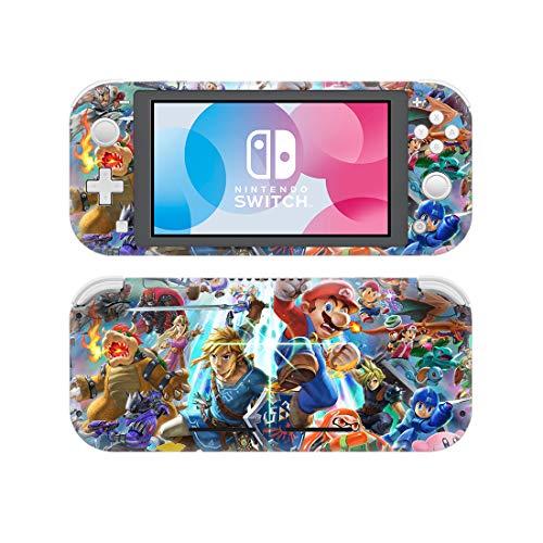 Super Smash Bros Nintendo Switch Lite Skin, Decal, Vinyl, Sticker, Faceplate - Mario Bowser Link Zelda - Protective Cover LITE