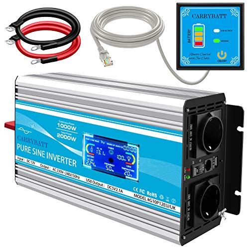 CARRYBATT 1000W kfz Spannungswandler Wechselrichter Reiner Sinus 12V auf 230V-inkl.5 Meter Fernsteuerung-2-EU-AC-steckdoses & 1 USB &LCD Anzeige- Spitzenleistung 2000 Watt für Auto, Wohnwagen,Camping