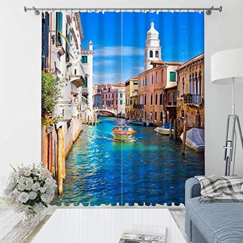 LLPZ Tende Stampate Water City Venice, Tende ombreggianti e Resistenti all'umidità, Tende per Camera da Letto e Soggiorno 2×W140cm×L175cm