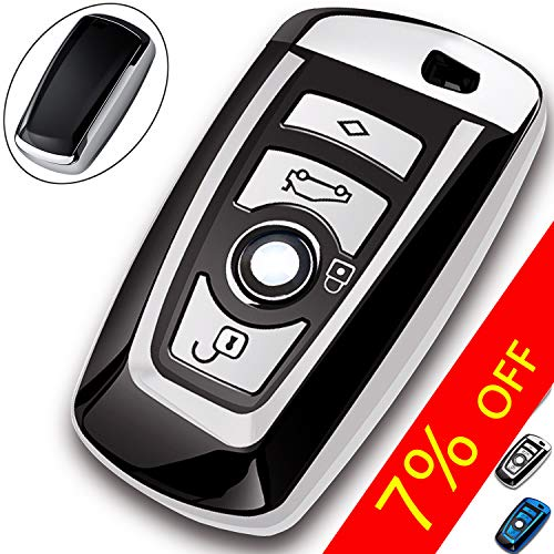 COMPONALL Key Fob Cover for BMW, Key Fob Case for BMW 1 3 4 5 6 7 Series X3 X4 M5 M6 GT3 GT5 Remote Control Key Premium Soft TPU Anti-dust Full Protection Silver