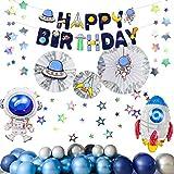 Globos De Decoración De Fiesta De Cumpleaños, Universo Planeta Astronauta Decoración De Fiesta Temática Juego De Globos De Película De Aluminio, Decoración De Pared De Fondo De Fiesta De Cumpleaños