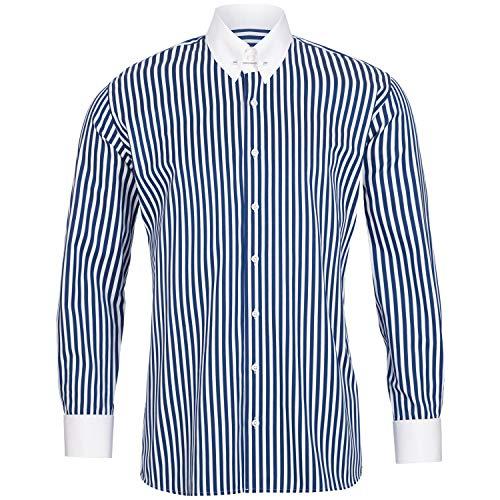 Schaeffer Premium Hemd Modern Cut blau gestreift gerader Piccadilly Kragen/Pin Collar, Größe: S