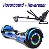 COLORWAY Overboard Hover Scooter Board Gyropode Bluetooth SUV 6.5 Pouces, Scooter Electrique Moteur 700W Tout-Terrain, Self-Balance Board avec Roues LED Flash + Hoverkart (Bleu Kar Noir)