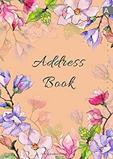 Address Book: A4 Big Contact Notebook Organizer | A-Z Alphabetical Sections | Large Print | Magnolia Wildflower Watercolor Design Orange