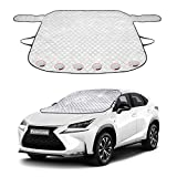 Golufomi Car Windshield Snow Cover, Winter Windshield Cover for Ice Frost with Magnetic Edge, Protect in All Weather Fit Most Cars and SUV, Silver