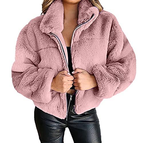 Women's Winter Lapel Fuzzy Fleece Solid Color Zipper Coat Faux Shearling Sherpa Jacket Outwear
