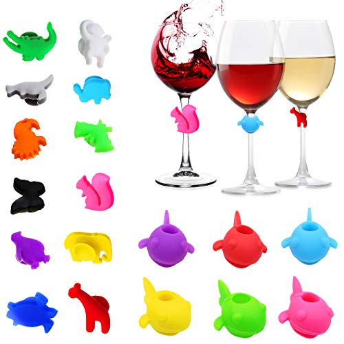 N/D Yisika 18 Pezzi segnabicchieri Silicone marcatori per Bicchieri di Vino per Feste segnabicchier con Ventosa identificativi per vetri riutilizzabili marcatori per Vino Tazza per Bar Party