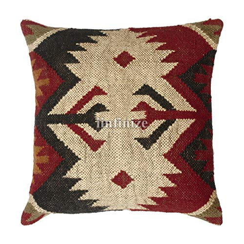 iinfinize - Federa per cuscino indiano hippie, in lana di iuta, per divano o sedia, Kilim