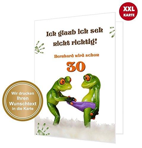 XXL Glückwunschkarte Geburtstag Geburtstagskarte Frosch guckt in Hose - Klappkarte DIN A4 mit Umschlag! Text änderbar!