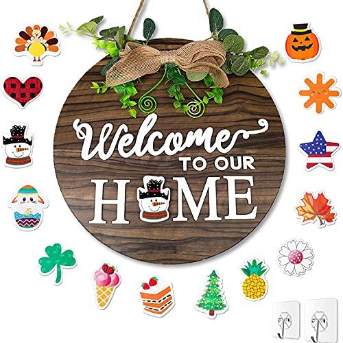 HYISHION Letrero de Bienvenida de Temporada Intercambiable, 14 Estilos Bienvenido a Nuestro hogar Letrero de Madera, Letreros de Madera de Bienvenida para Colgar en Pared decoración