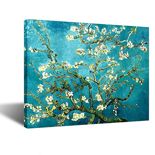 Kreative Arts Canvas Prints Giclee Artwork for Wall Decor, Classic Van Gogh Artwork Oil Paintings Reproduction Almond Blossom Canvas Picture Photo Prints on Canvas Art for Wall (Blue)