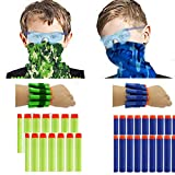 wishery Nerf Party Supplies & Favors for 16 Kids. Compatible with Nerf Guns N - Strike Elite. Nerf War Birthday Party Pack, Darts, Safety Glasses, Face Masks, Wrist Bands Set for 2 Teams.