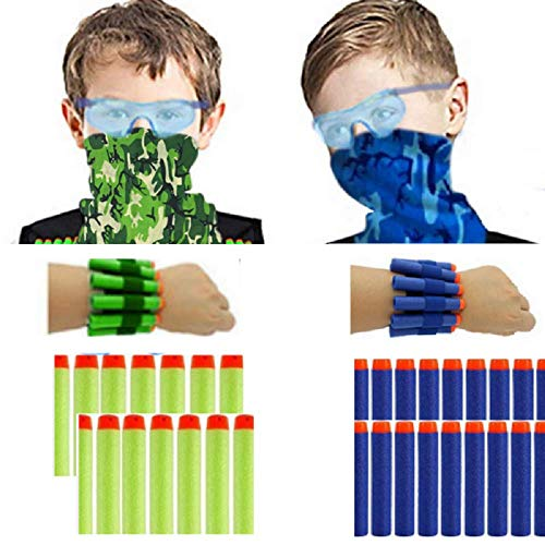 Wishery Nerf Party Supplies for 8 Kids.Accessories for Nerf Gun Birthday Party, Family Nerf Wars. Includes Darts, Wrist Ammo Holders, Tactical Face Mask, Eye Safety Glasses (2 Teams).