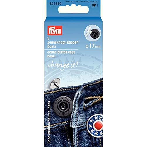 Prym 3 Jeansknopf-Kappen Basis 17mm vernietbar für Dekorkappen