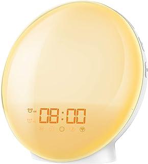 AMIR New Wake-Up light Sunrise Alarm Clock, 7 Colors Mood Atmosphere Lamp, Dual Alarms Bedside Night Light with FM Radio, ...