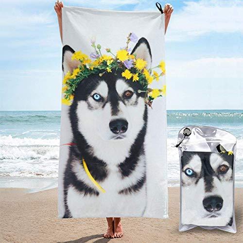 Husky Dog Toalla de microfibra suave sin arena para piscina al aire libre para acampar, natación, yoga, deportes, niñas, mujeres, hombres, adultos