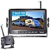 Rohent HD Digital Wireless Backup Camera with 7''Monitor High-Speed Observation System for RVs,Trucks,Trailers,Campers Hitch Rear View Camera Super Night Vision with Grid Lines DIY Setting-R9