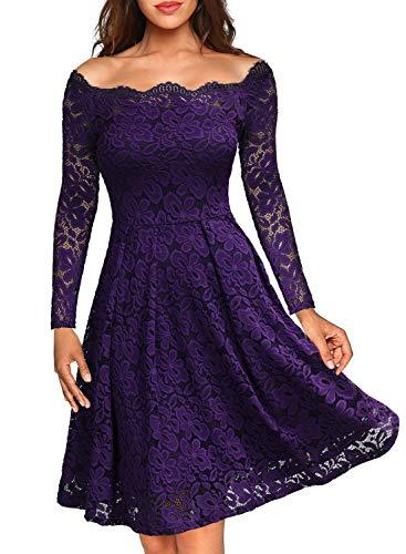 MISSMAY Women's Vintage Floral Lace Long Sleeve Boat Neck Cocktail Party Swing Dress, Medium, Purple