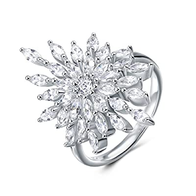 Carleen Sterling Silver Snowflake Ring Fashion Engagement Rings for Women Girls, Size 8
