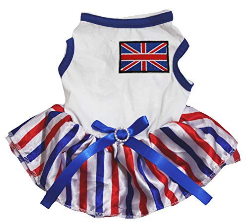 Petitebelle Puppy Kleding Hond Jurk UK Vlag Blauw Wit Top RWB Strepen Tutu, XXX-Large, Kleur: wit