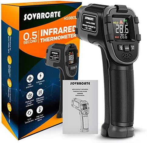 Infrared Thermometer SOVARCATE Digital IR Laser Thermometer Temperature Gun High and Low Temperature product image