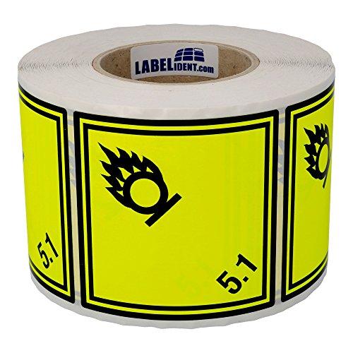 Labelident Gefahrgutaufkleber 100 x 100 mm - Klasse 5.1 - Entzündende (oxidierende) Stoffe - 1000 Gefahrgutetiketten auf 1 Rolle(n), 3 Zoll Kern, Papier gelb, selbstklebend