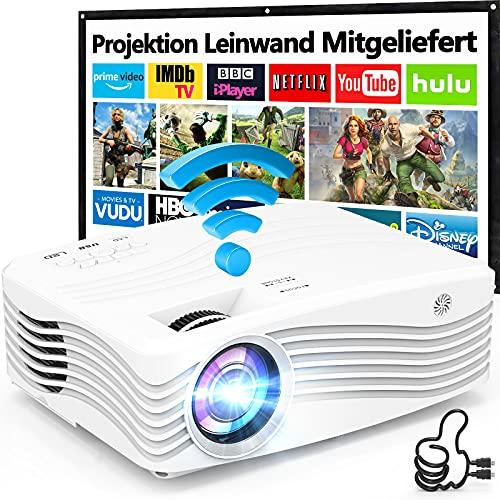 5G WiFi Beamer Native 1080P Full HD 8500 Lumens [Mit 120″ Screen], Wireless Beamer Unterstützt 4K Bildschirm Synchronisierung, Heimkino Projektor Kompatibel mit TV-Stick Smartphone & Tablet HDMI.