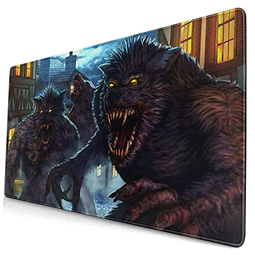 AKEANU Werewolf in London Extended Mouse Mat Gaming Mouse Pad,,Desk Pad Large Computer Keyboard Mouse Mat with Non-Slip Base and Stitched Edge for Gaming Work,Home Office(15.8x29.5 in)