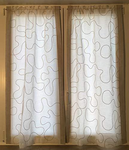 mauro Coppia Tendine Ricamate-Tende per Finestra e Porta confezionate-bxh cm 60x150-60x240 -Tende a Vetro-Tessuto Effetto Lino-Bianco/Tortora (bxh cm 60x150)