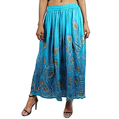 Suman Enterprises Peacock Printed Long Skirt wd Sequin Work,Elastic Waist,Beach Dress