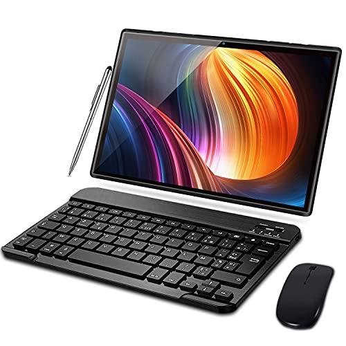 Tablet 10 Pulgadas Baratas y Buenas 3GB RAM 32GB ROM Android 10 Pro Tablets con Quad Core | Cámara Dual 5MP + 8 MP | Doble SIM | Batería 8000mAh | WiFi | Bluetooth | con Teclado y Ratón,Negro