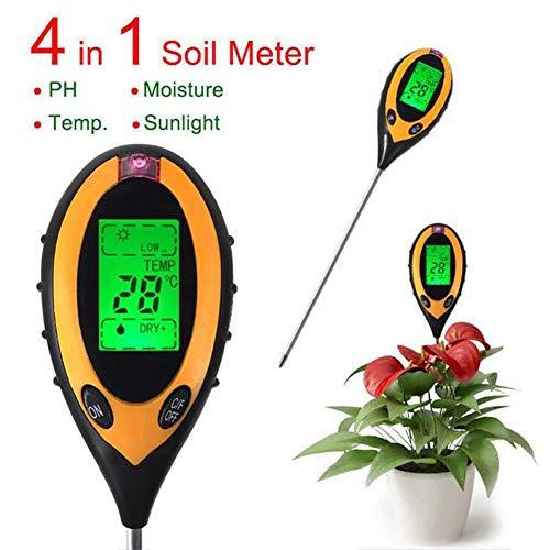 Boden-Tester, 4-in-1 Bodentester, Feuchtigkeitsmessgerät, pH-Wert, Temperatur, Sonnenlicht, Lux Intensitätsmessgerät, LCD-Display, für Garten, Bauernhof, Rasen, Pflanzen, Blumen