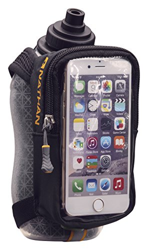 Nathan Handheld Water Bottle and Phone Case for Running/Walking. Insulated 18 oz, Hand Held Strap SpeedView Flask. Hydration Pack for Runners