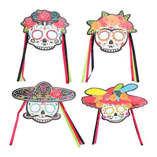 PRETYZOOM 4 stks dag van de dode maskers Fiesta foto rekwisieten Cinco De Mayo Mexicaanse partij gunsten voor bruiloft verjaardag Bachelorette Halloween partij benodigdheden