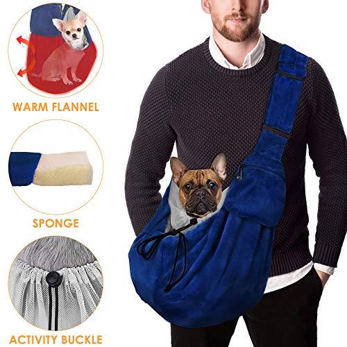 Nasjac Pet Carrier, Hund Katze Hand Free Flanell Warm Sling Carry Tote Bag Verstellbarer gepolsterter Schultergurt mit Sicherheitsgurt Umhängetasche Puppy Carrying Walking für Autumm Outdoor Travel