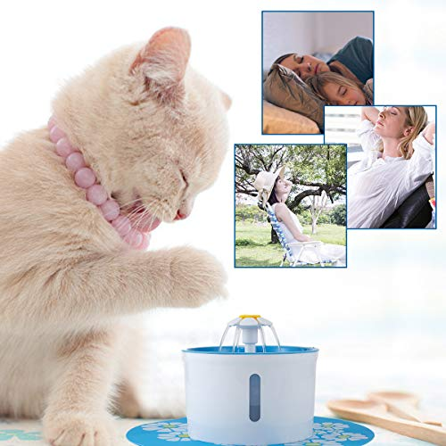 Pet Fountain, 1.6 L Automatic Water Fountain for Pets, Triple-Action Filter, Safe Resin Material+Free Silicon Mat for Dogs, Cats