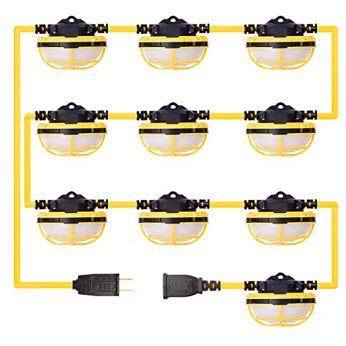 FREELICHT 130W 14000LM 100FT LED Construction String Light with Mesh Cover, Ultra Bright Linkable Job Site Lighting, Non-Breakable and Anti-scratch Weatherproof Industrial Grade, ETL Certified
