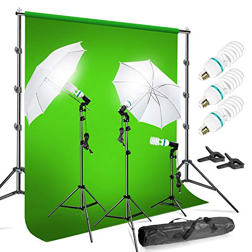 LimoStudio Photo Video Chromakey Green Screen Background Support System with 10' x 20' Green Muslin Backdrop 660W Bulb Umbrella Lighting Kit, AGG408